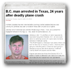 B.C. man arrested in Texas, 24 years after deadly plane crash