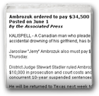 Ambrozuk ordered to pay $34,500