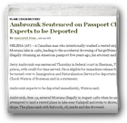 Ambrozuk Sentenced on Passport Charge, Expects to be Deported