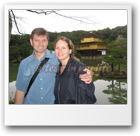 Genea and Jarek at the Kinkakuji Temple (Golden Pavilion) in Kyoto, Japan