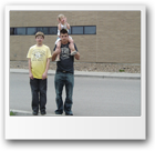 Jarek's niece and nephews in front of the Flathead County Detention Center